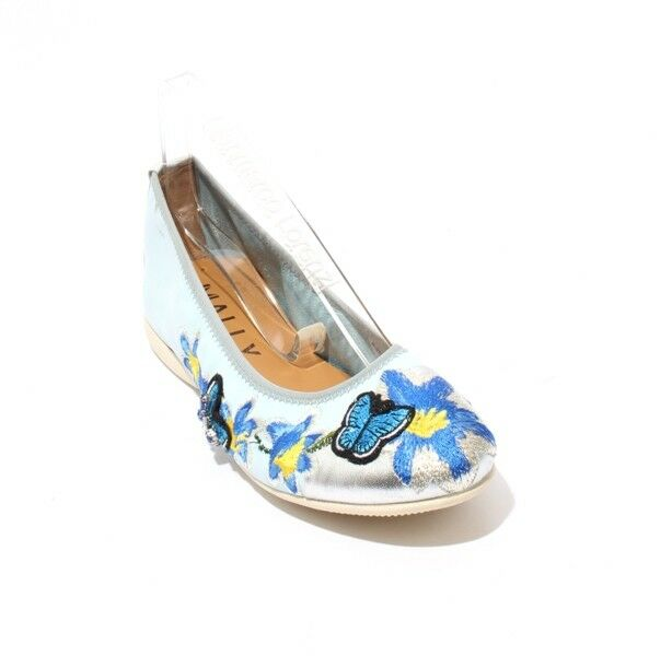 Mally 6095 bluee Multi-color Floral Leather Comfortable Ballet Flats 36   US 6