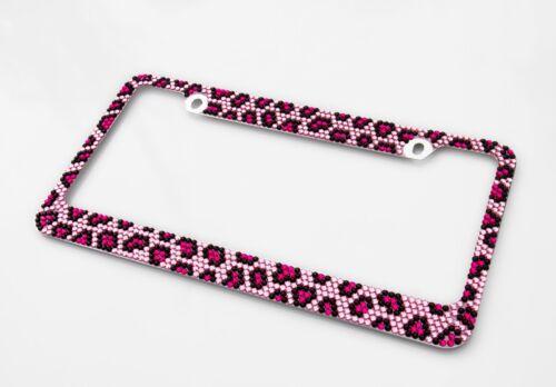 Bling Pink Leopard Diamond License Plate Frame