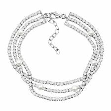"""Three Strand Bracelet with Freshwater Pearls & CZ in Plated Bronze, 7"""" + 1.5"""""""