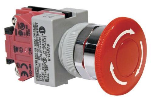 IDEC Emergency-Stop F22mm PushLock-TurnReset Red Mushroom F40mm 1NC AVW401R NIB