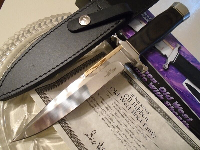 Gil Gil Gil Hibben Old West Stiefel Bowie Carbon Blade Wood Handle Leder Sheath GH5047 7f33ce