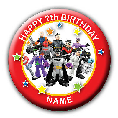 58 or 77MM PERSONALISED DC SUPER HERO FRIENDS BOYS BIRTHDAY BADGES//MAGNET
