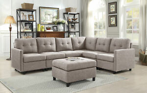 Contemporary-7pcs-Sectional-Modern-Sofa-Microsuede-Reversible-Chaise-w-Ottoman