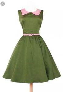 NWT-PUG-Pinup-Girl-Clothing-Pinup-couture-Junebug-Dress-Size-Small-in-Olive
