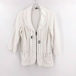 XCVI-Womens-Reservoir-Poplin-White-Full-Zip-Jacket-Size-Small-Ramie-Collared