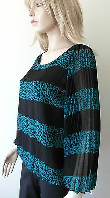 Macys 'alfani' Designer 'silver Lining Bold Stripe' Uk 10 Black & Turquois Top Blusen, Tops & Shirts