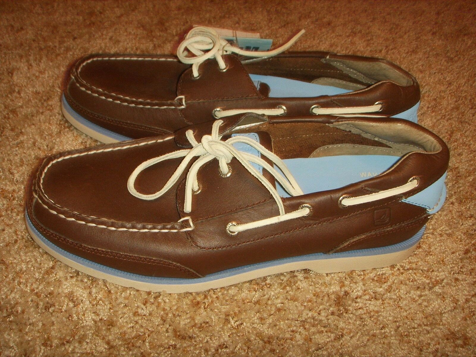 SPERRY TOP SIDER STINGRAY 2 EYE MENS BROWN BLUE BOAT SHOES MENS EYE SIZE 10M bfc19c