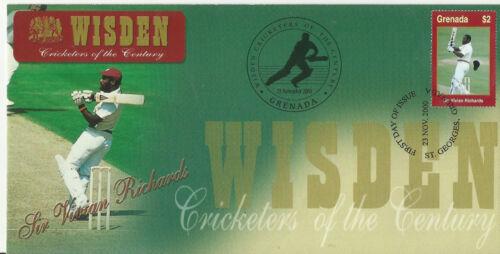 GRENADA WISDEN 2000 CRICKET SIR VIVIAN RICHARDS 1v FIRST DAY COVER No 1 of 4