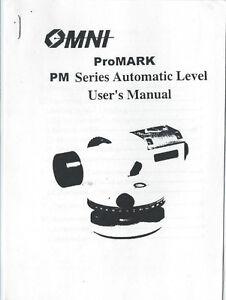 New OMNI ProMARK PM Series Automatic Level User's Manual