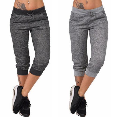 Damen Jogging Jogger Gym Caprihose Bermudas Stoffhose Sporthose Kurzhose Shorts