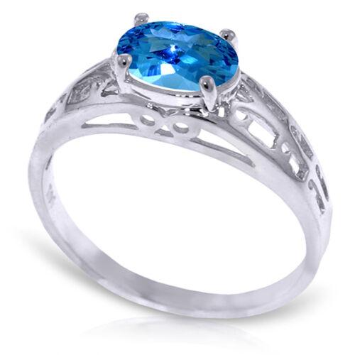 Brand New 1.15 Carat 14K   White Gold Filigree Ring Natural Blue Topaz