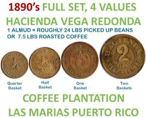 2 Almud HACIENDA Cafe VEGA REDONDA Las Marias Bucarabones PUERTO RICO 1890