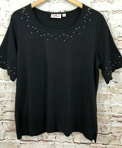 Quacker-Factory-black-shirt-womens-large-scalloped-rhinestone-elbow-slv-top-B5