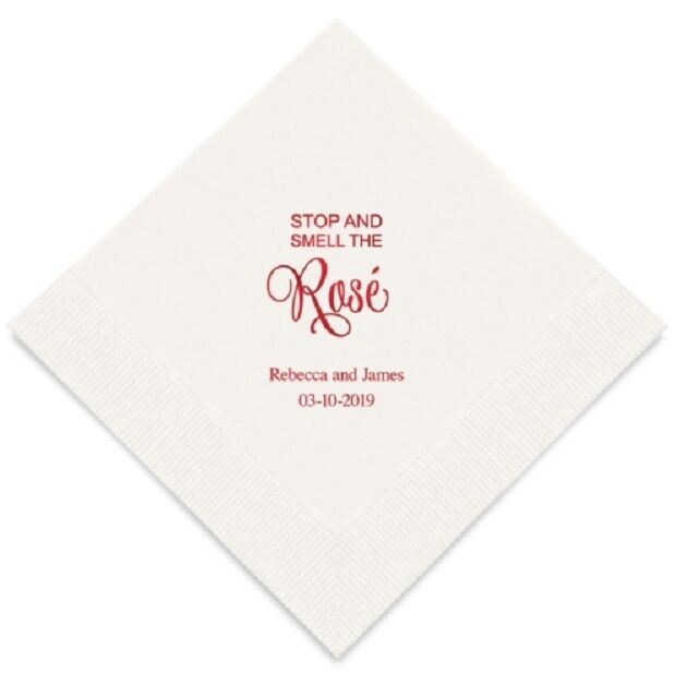 300  Stop And Smell The Rosé Personalized Wedding Luncheon Napkins