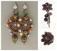 Italian Made Fashion Costume Designer Jewelry Set: Earrings, Brooch, Ring