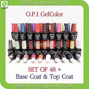OPI-GelColor-Kit-gt-SET-OF-48-FREE-BASE-amp-TOP-Soak-Off-Gel-Nail-Colour-UV-Led-Lot