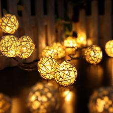 Xmas Wedding Party Home Garden 20 LED Rattan Ball String Lights Fairy Lamp Decor
