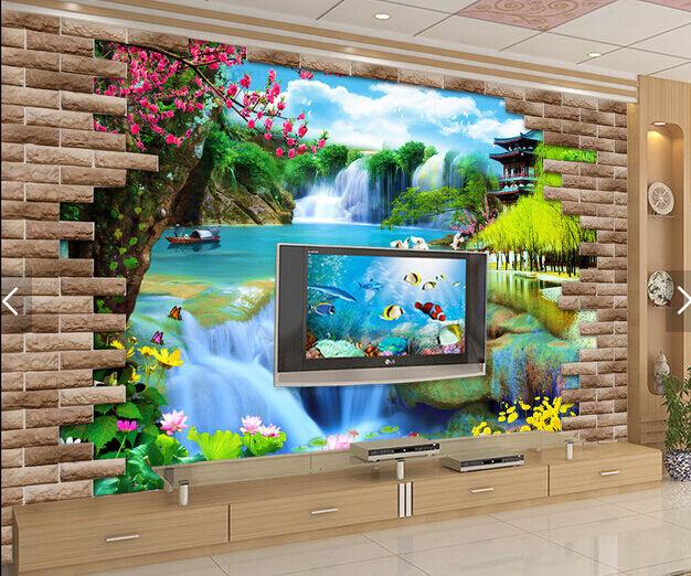 3D Wasserfall, See 1659 Fototapeten Wandbild Fototapete BildTapete Familie