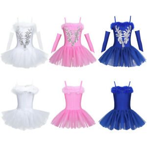 Girls Sequin Ballet Dance-wear Leotard Tutu Dress Fairy Swan Ballerina Costume