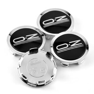 4x-75mm-OZ-Racing-Nabendeckel-Felgendeckel-M608-Chrom-Schwarz-fuer-Superforgiata
