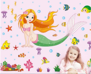 Cartoon-Mermaid-Wall-Sticker-Vinyl-Decal-Home-Decor-Poster-Baby-Girls-Kids-Room