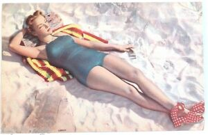 Vintage 1950 S Pin Up Girl Laying On Beach Mwm Color Litho