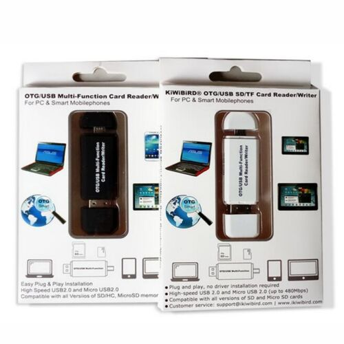 1X Micro USB OTG Adapter and USB 2.0 Portable Memory Card Reader for SDXC//SD