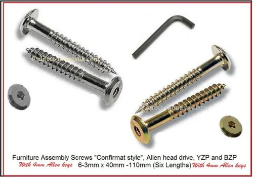 2-20x Flat head Hex//Allen drive furniture connector screws Beds//Panels 6.3 90mm