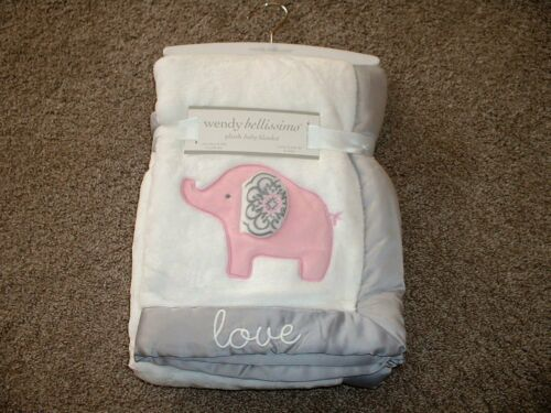 Wendy Bellissimo Plush Elodie Elephant Baby Blanket White Gray Pink Love NWT HTF
