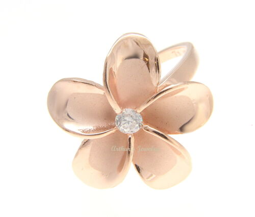 PINK ROSE GOLD STERLING SILVER 925 HAWAIIAN PLUMERIA FLOWER RING 21MM CZ SZ 3-12