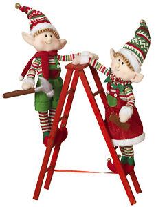 Plush-Standing-Christmas-Elf-Elves-Climbing-on-Ladder-Dolls-Figurines-Set-Decor