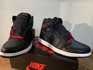 New Air Jordan 1 Retro High Og Black Satin Gym Red White 555088