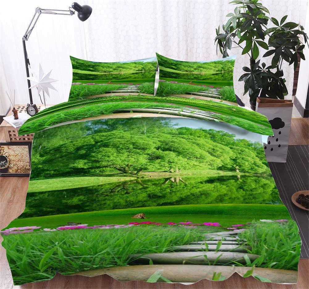 Grün Side River 3D Printing Duvet Quilt Doona Covers Pillow Case Bedding Sets