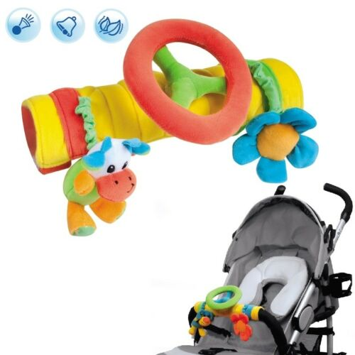 Baby Plush pram toy Steering Wheel with rattle squeaker New