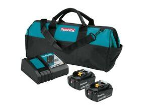 Makita BL1850BDC2X 18V LXT Battery with Rapid Optimum Charger 5.0Ah Starter Kit