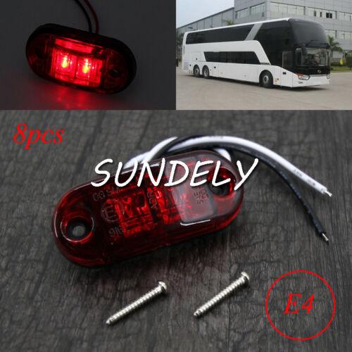 8PCS 2LED Front Side Marker RED Light GM Car Truck Van Trailer Lorry Lamp 12-24V