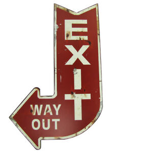 Details About Large Red EXIT WAY OUT Metal Arrow Sign Bar Home Theater Wall Decor Vintage Rep