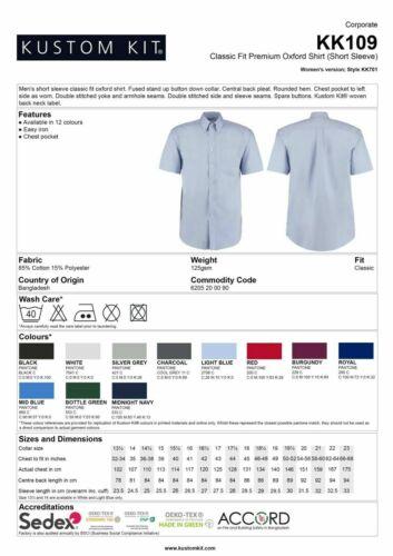 Da Uomo Aziendale Oxford Camicia lilla maniche Corte Kustom Kit ferro facile KK109