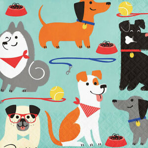 Image Is Loading PUPPY PARTY Mixed Dogs SMALL NAPKINS 16 Birthday