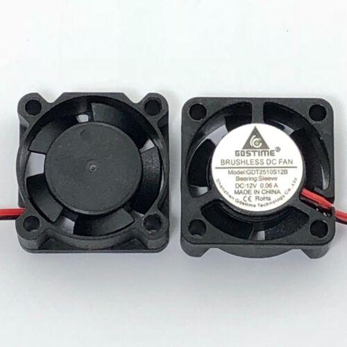 4 Pcs 12V 25mm Mini Cooling Fan 2510 25x25x10mm 2-pin DC Small Micro Cooler