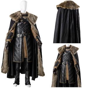 Game-of-Thrones-Season-7-Stark-Jon-Snow-Outfit-Cosplay-Costume-Armor-Vest-Cape