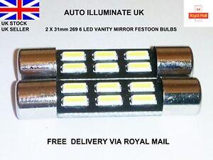 31mm-6-LED-SUN-VISOR-CAR-VANITY-LIGHT-LAMP-FESTOON-BULBS-WHITE-269-T6-3-12V