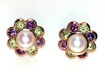 In Conscientious Suffragette Pearl Amethyst And Peridot Flower Stud Earrings 9ct Rose Gold Gwv Fragrant Flavor