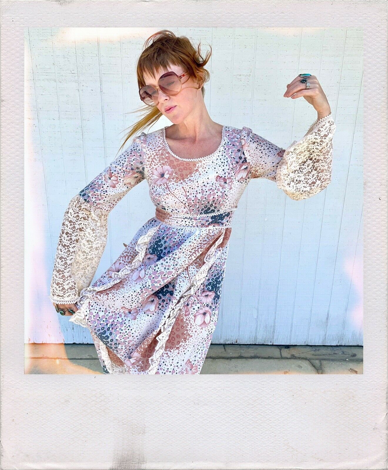Vintage 70s Floral Maxi Dress Lace Sleeves Fairyc… - image 1