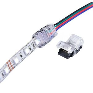 Rgb 5050 led strip light solderless quick connector clip adapter image is loading rgb 5050 led strip light solderless quick connector aloadofball Gallery
