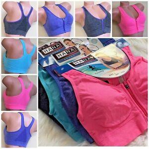 WOMEN'S SPORT BRAS 1-4 BRA Active Wear YOGA WIRE FREE zipper RACERBACK 3033 M-XL
