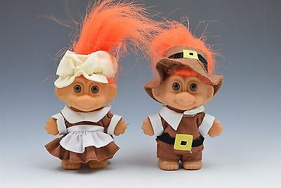 Russ Troll Doll Thanksgiving Pilgrim Boy Girl Pair
