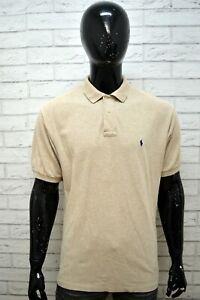 Maglia-Uomo-RALPH-LAUREN-Taglia-XL-Polo-Maglietta-Manica-Corta-Shirt-Beige