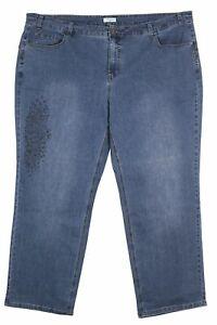 Sheego Stretch Jeans Die Gerade Straight Fit Women's Blue Denim Size 56 58