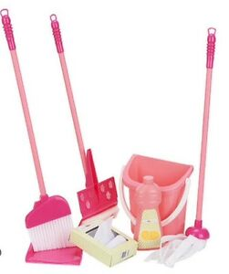 Deluxe Childs Cleaning Set Kids Mop Broom Toddler Girls Pink